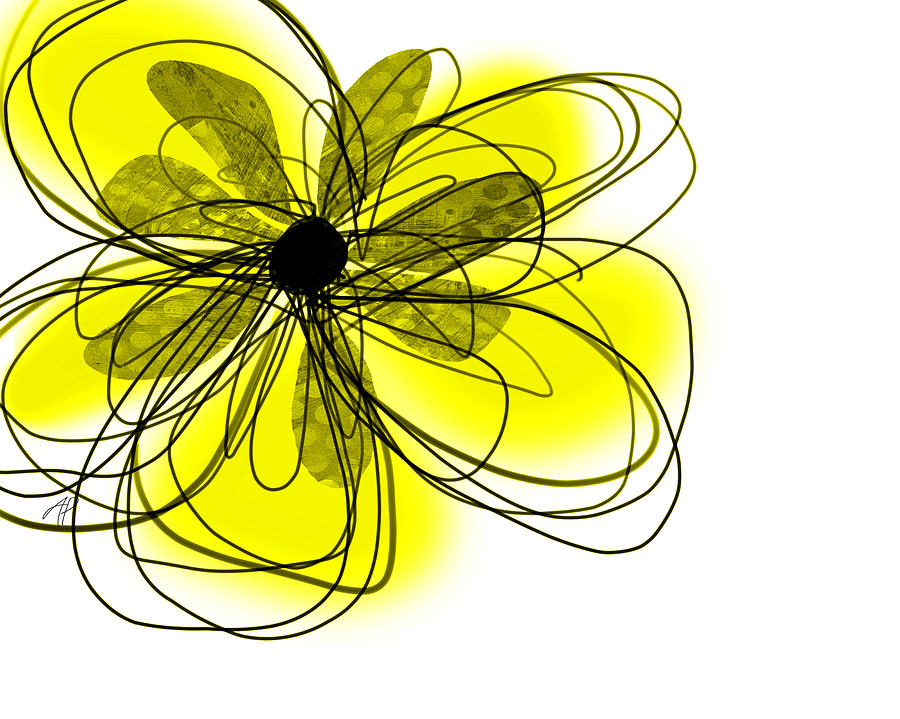 Yellow Abstract Flower Art  Digital Art  - Yellow Abstract Flower Art  Fine Art Print