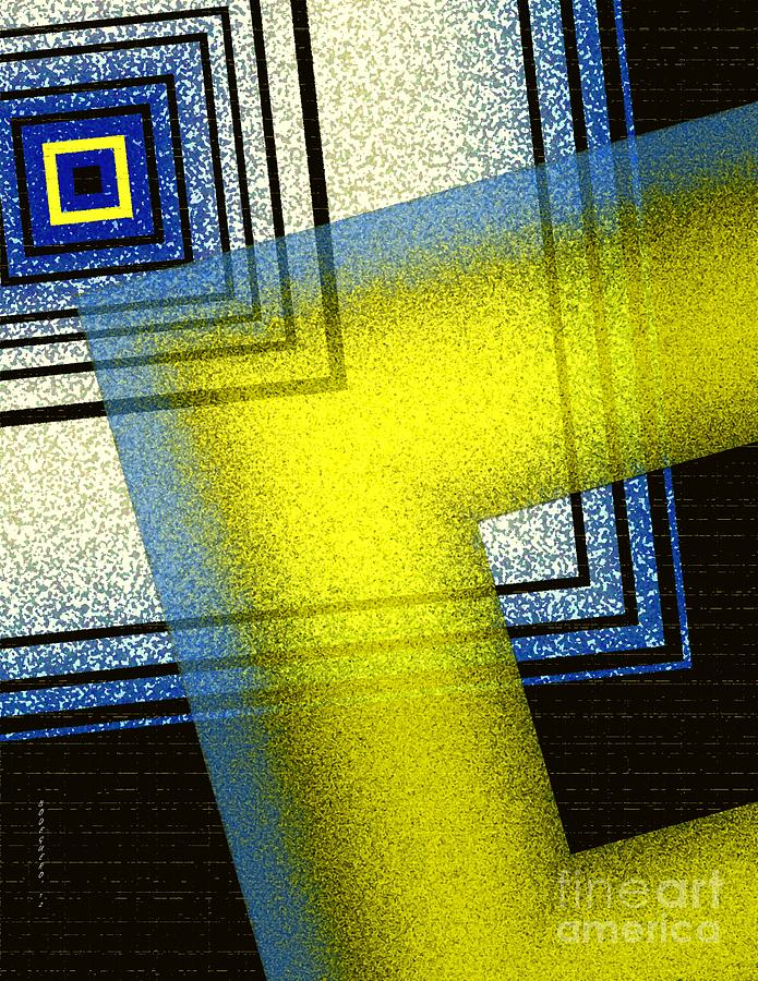 Yellow And Blue With Textures Digital Art