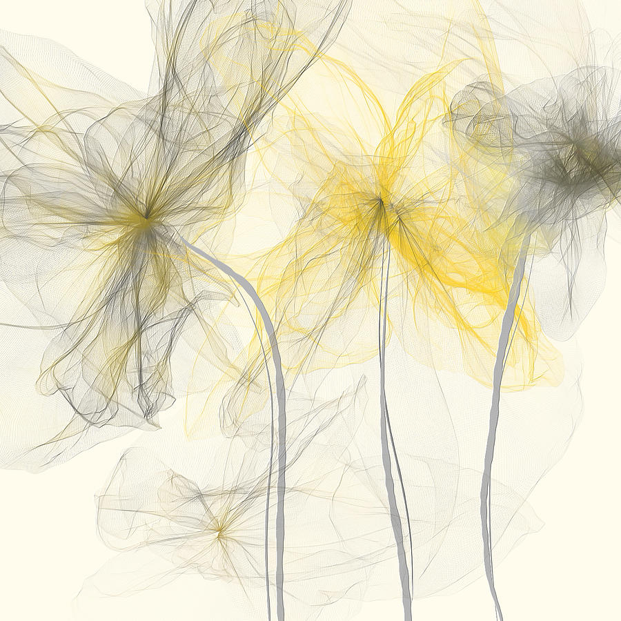 Yellow And Gray Flowers Impressionist Painting By Lourry