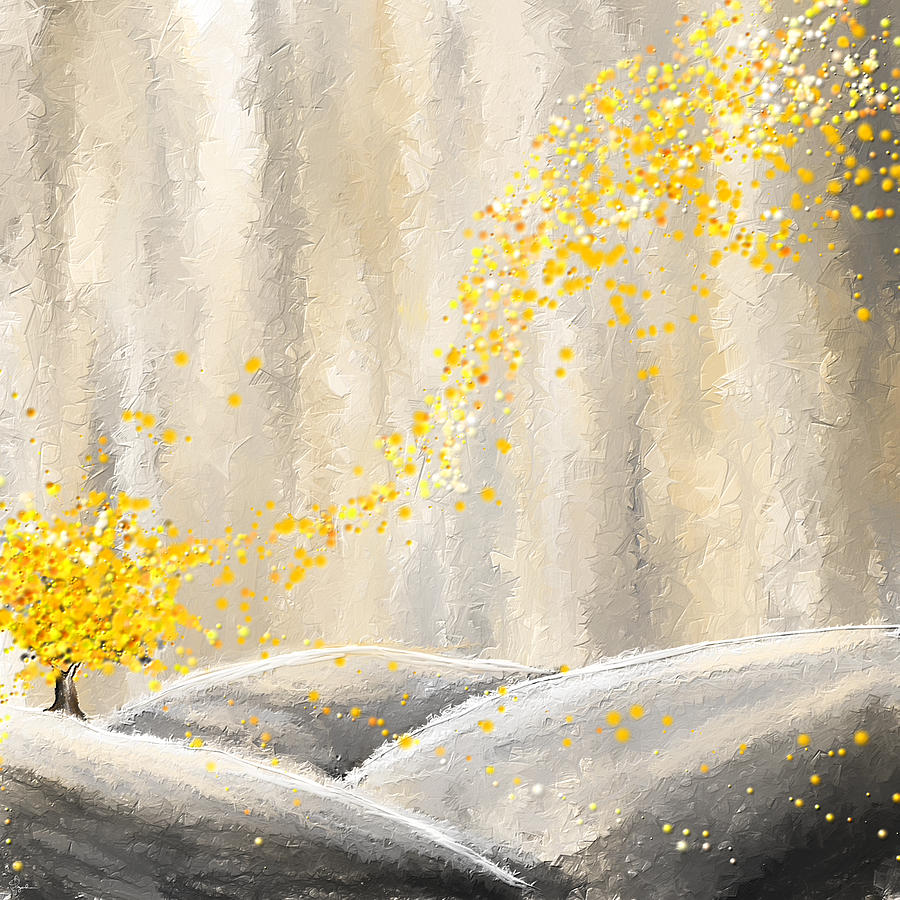 yellow and gray landscape painting by lourry legarde