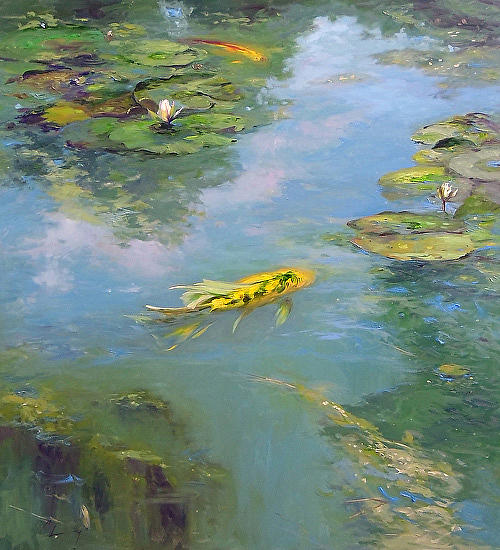 Yellow and green koi and lily pads painting by chuck larivey for Green koi fish for sale