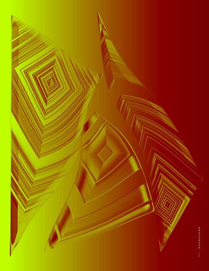 Yellow And Orange Triangles Digital Art  - Yellow And Orange Triangles Fine Art Print