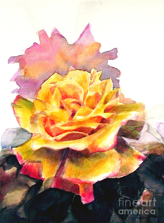 Yellow Rose Fringed In Red Painting