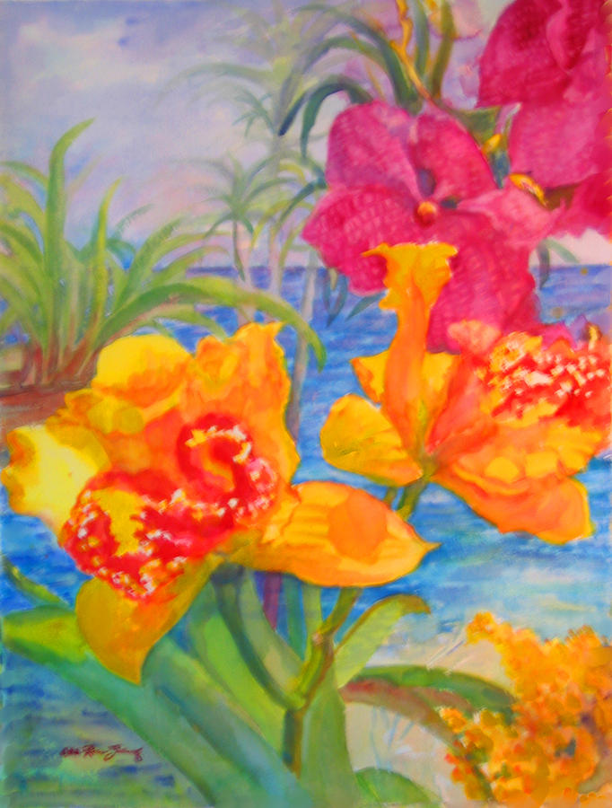 Yellow and purple orchids painting by estela robles for Purple and yellow painting