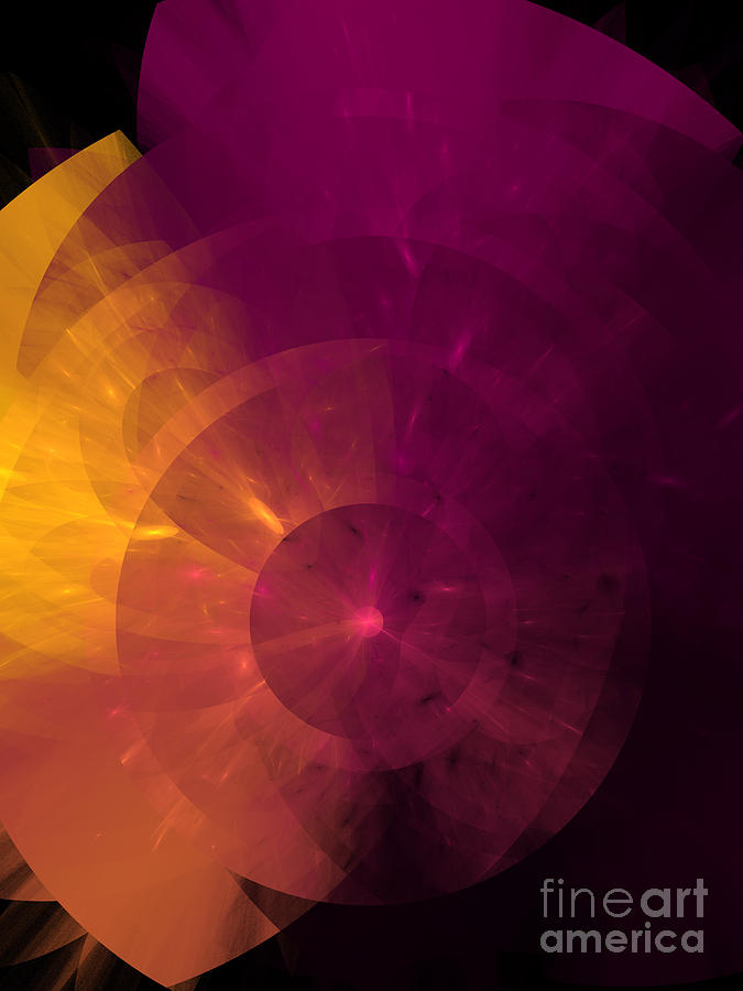 Yellow And Purple Umbrella Top Abstract  Digital Art