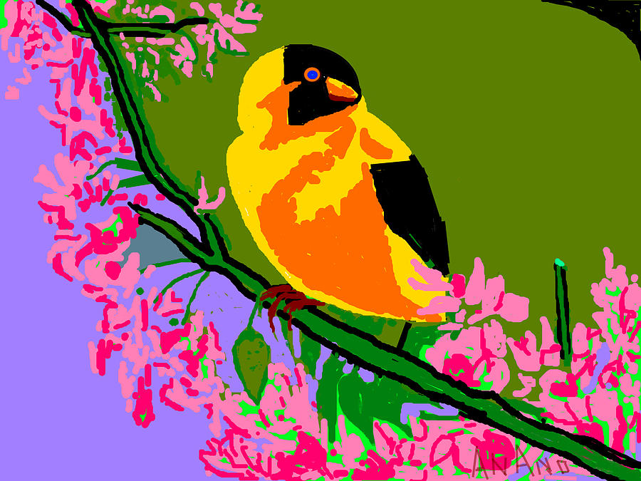 Yellow Bird And Flowerss Digital Art