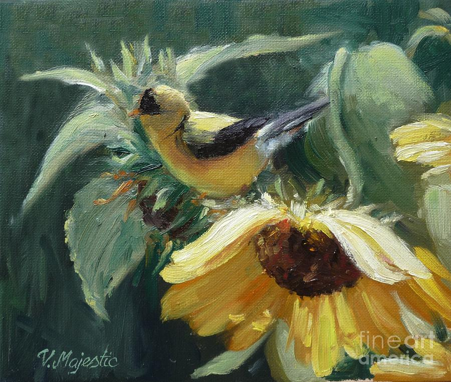 Yellow Bird - Hooded Oriole Painting