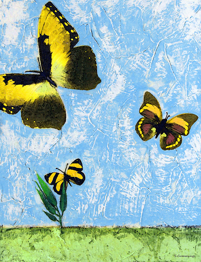 Yellow Butterflies - Spring Art By Sharon Cummings Painting  - Yellow Butterflies - Spring Art By Sharon Cummings Fine Art Print