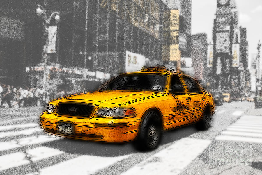 Yellow Cab At The Times Square -comic Photograph  - Yellow Cab At The Times Square -comic Fine Art Print