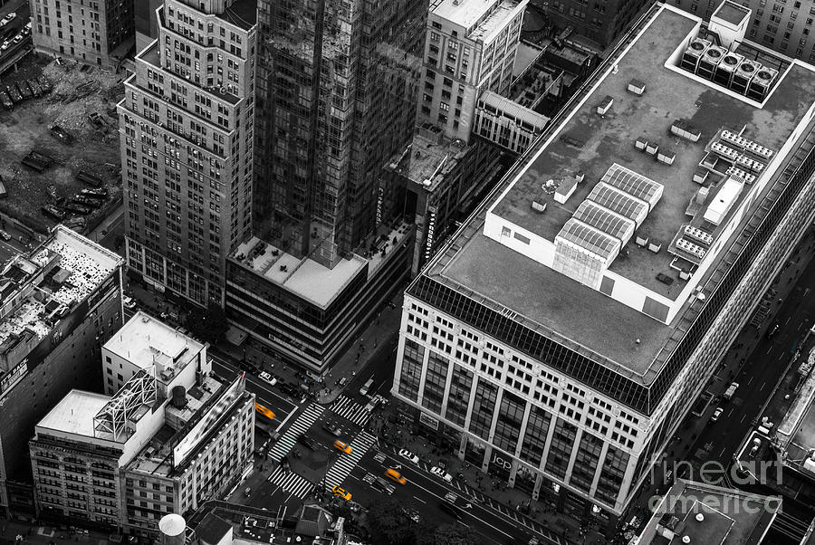 Yellow Cabs - Birds Eye View Photograph  - Yellow Cabs - Birds Eye View Fine Art Print
