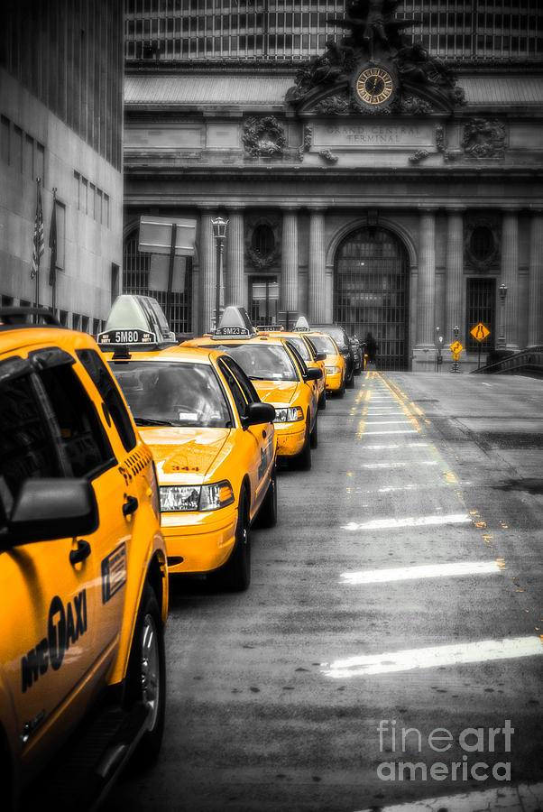 Yellow Cabs Waiting - Grand Central Terminal - Bw O Photograph  - Yellow Cabs Waiting - Grand Central Terminal - Bw O Fine Art Print