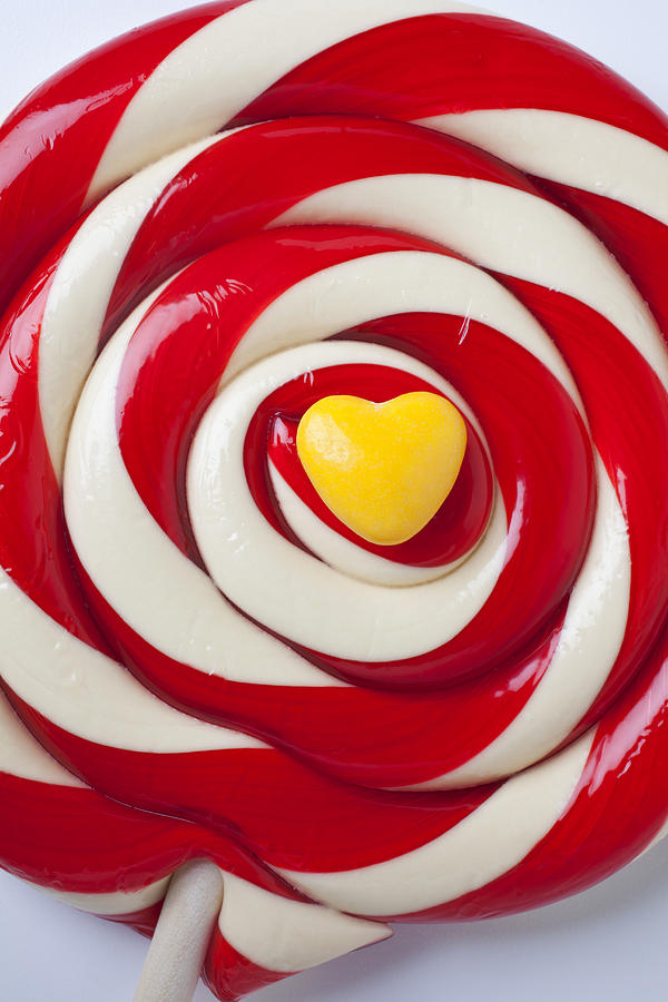 Yellow Candy Heart On Sucker Photograph