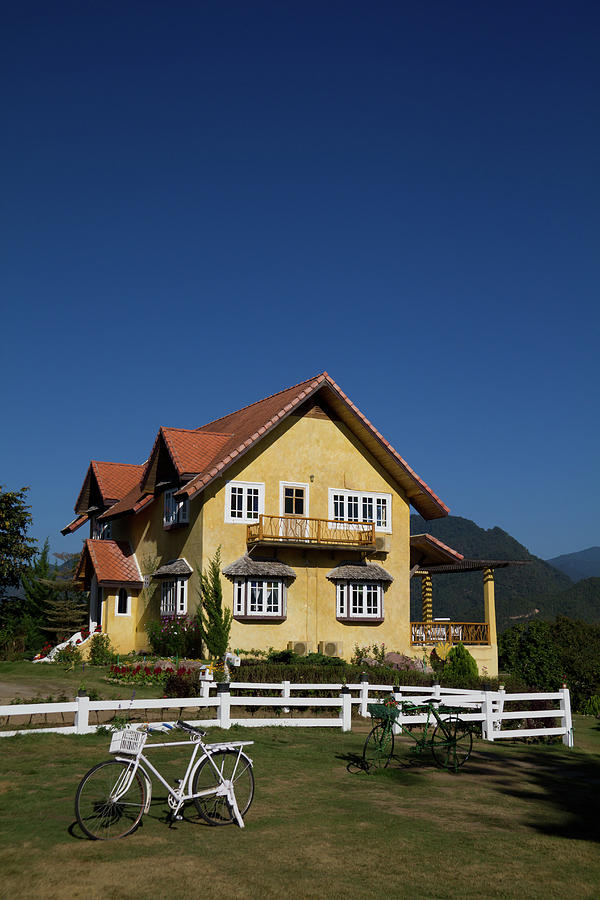 Yellow Classic House On Hill In Thailand  Photograph