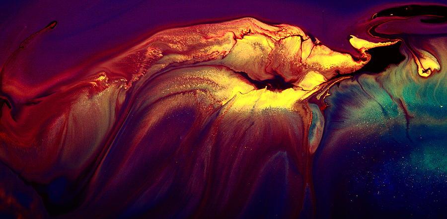 Yellow Colorful Horizontal Abstract Art Burning Jellyfish ...