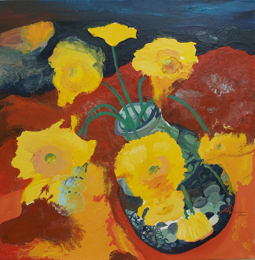Daisies Painting - Yellow Daisies by Joseph Demaree