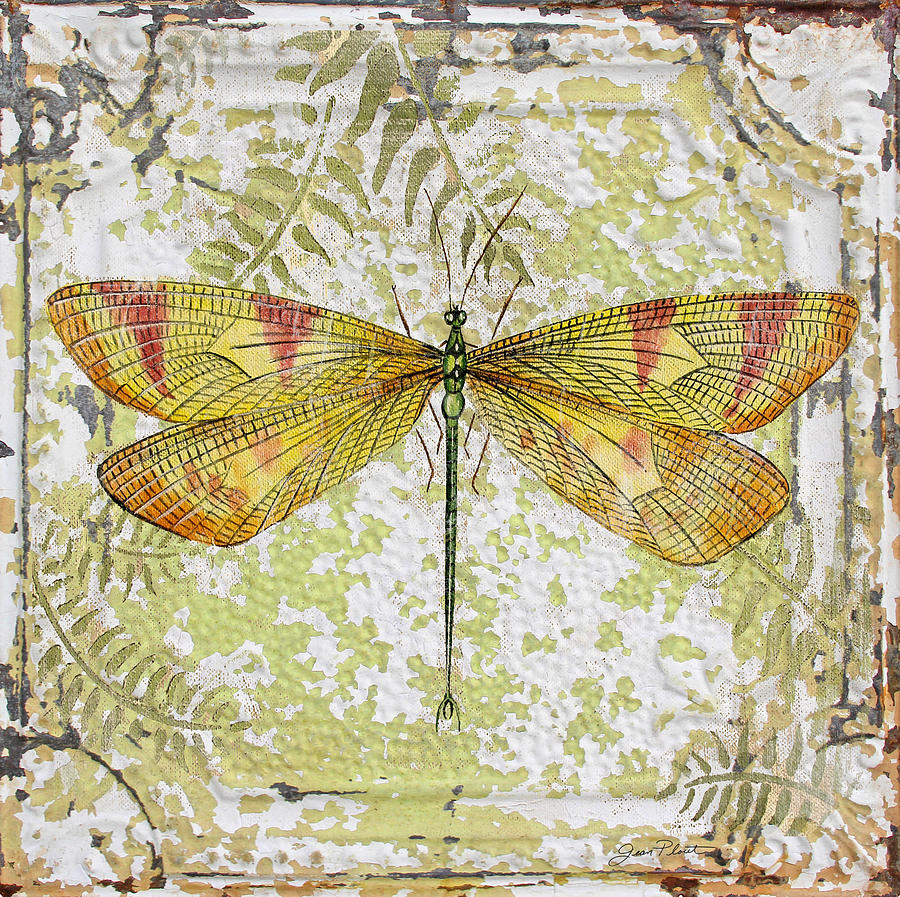 Yellow Dragonfly On Vintage Tin Painting By Jean Plout