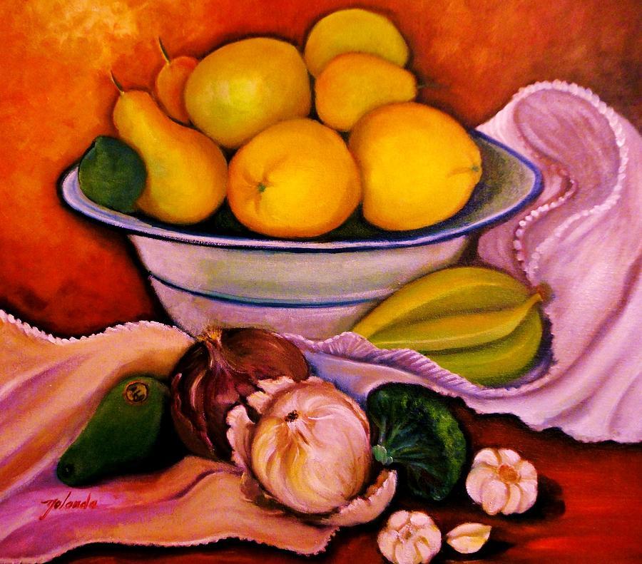 Still Life. Grapefruits Painting - Yellow Fruits by Yolanda Rodriguez