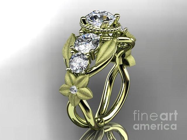gold diamond floral leaf and vine wedding ring engagement