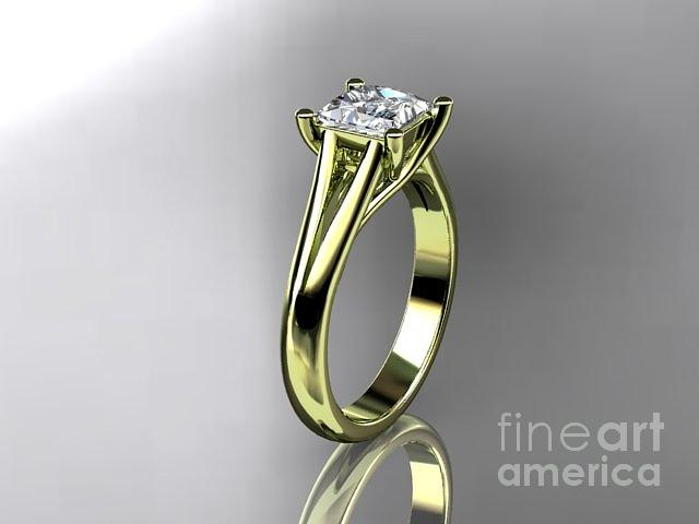 Yellow Gold Diamond Unique Engagement Ring Wedding Ring Solitaire Ring With Moissanite Center Stone Jewelry