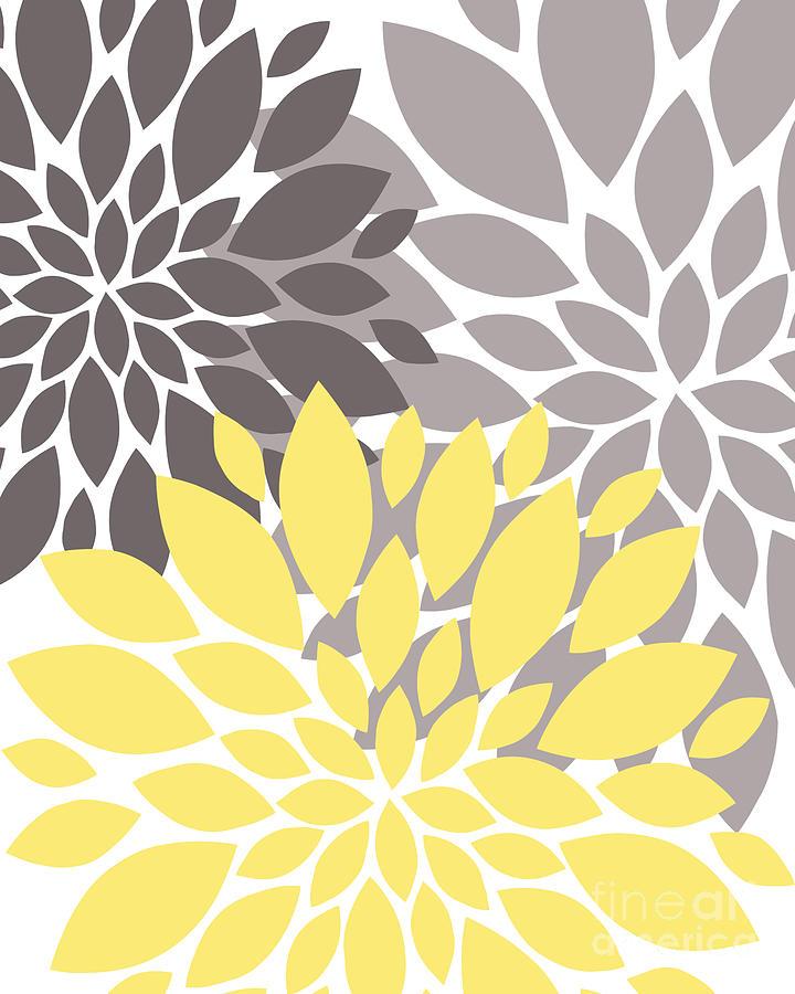 Yellow Digital Art - Yellow Grey Peony Flowers by Edit Voros