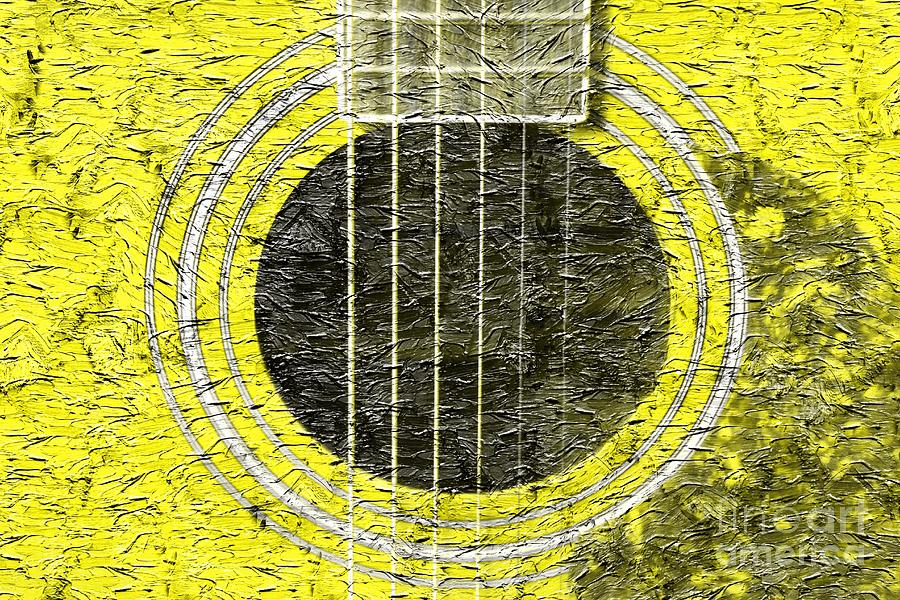 Yellow Guitar - Digital Painting - Music Photograph