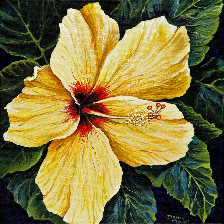 Flower Painting - Yellow Hibiscus by Darice Machel McGuire