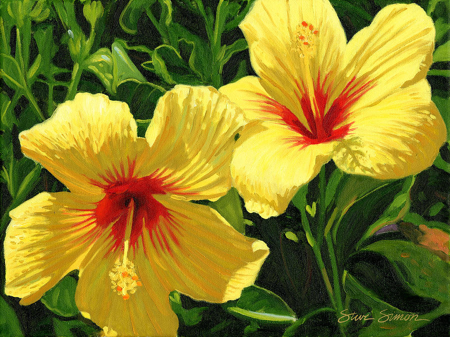 Yellow Hibiscus Painting by Steve Simon