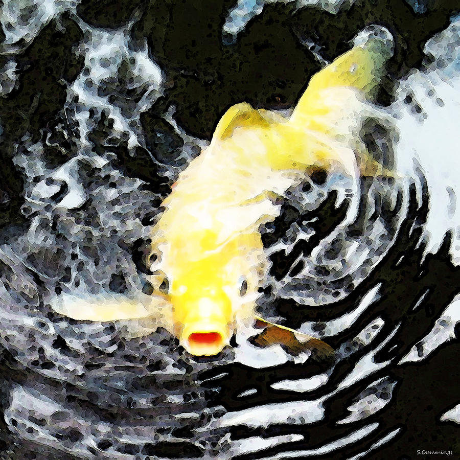 Yellow Koi - Black And White Art Painting  - Yellow Koi - Black And White Art Fine Art Print