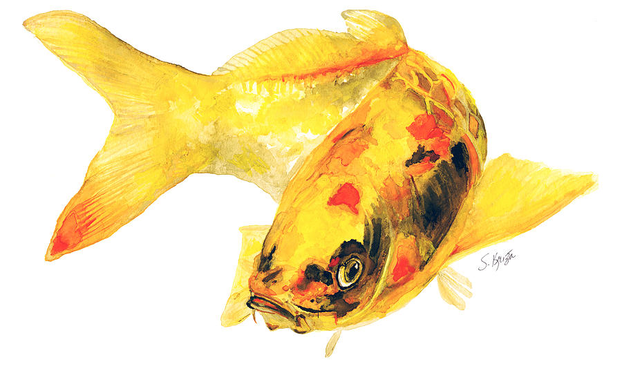 Yellow koi fish painting by stephanie kriza for Yellow koi fish