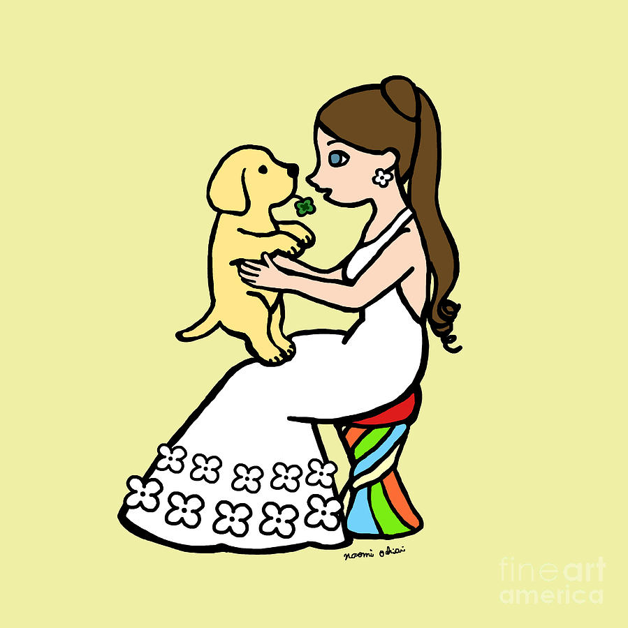 Yellow Lab Puppy And Girl Digital Art