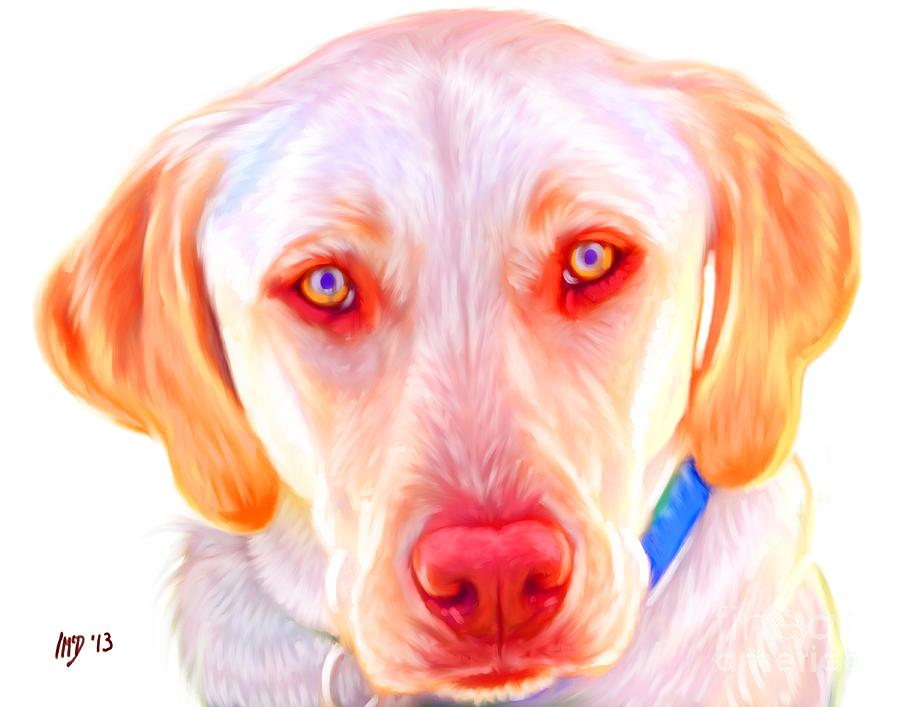 Yellow Labrador Dog Art With White Background Painting