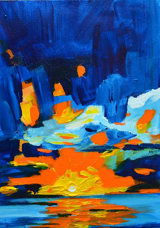 Yellow Orange Blue Sunset Landscape Painting  - Yellow Orange Blue Sunset Landscape Fine Art Print