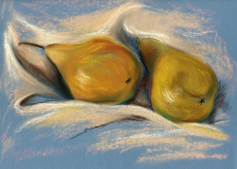 Yellow Pears On Blue Paper Pastel Drawing Pastel  - Yellow Pears On Blue Paper Pastel Drawing Fine Art Print