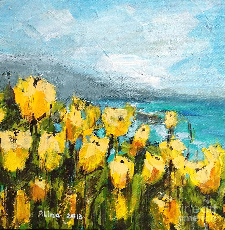 Floral Painting - Yellow Poppies by Alina Vidulescu