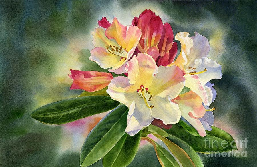 Yellow Rhododendron Dark Background Painting