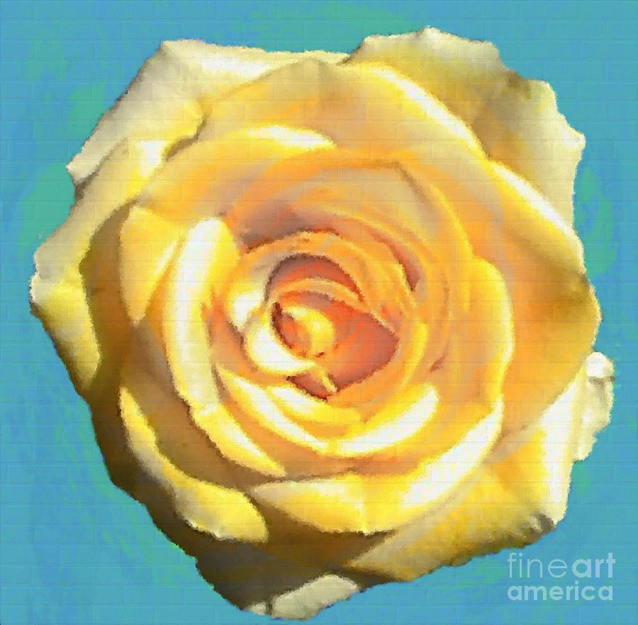 Yellow Rose On Turquoise Painting  - Yellow Rose On Turquoise Fine Art Print