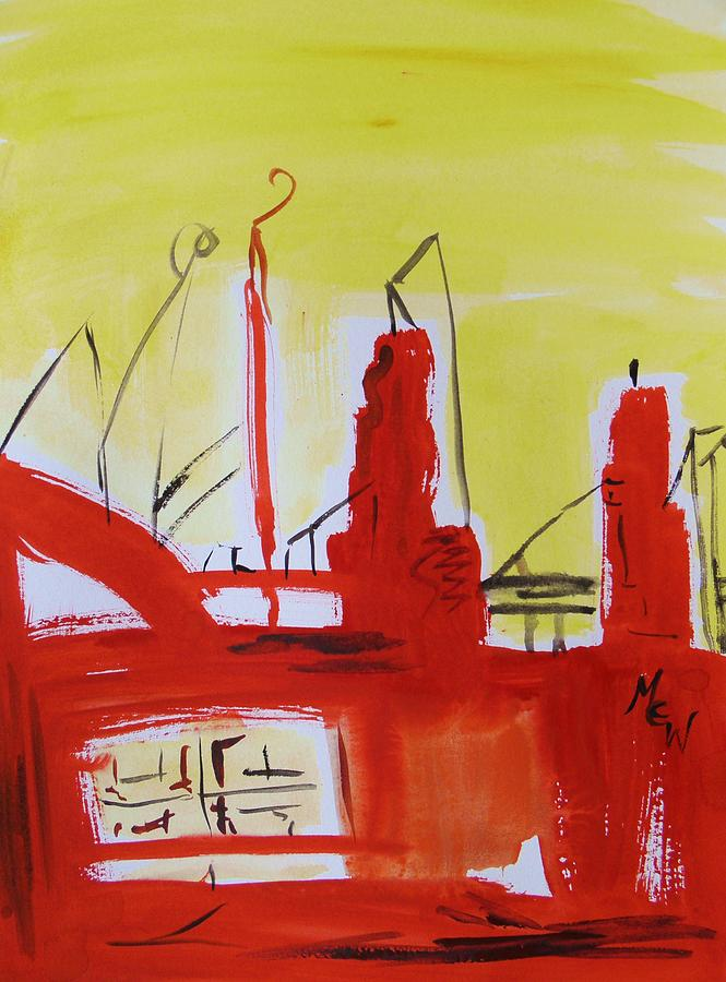 Steel Mill Painting - Yellow Sky Industry by Mary Carol Williams