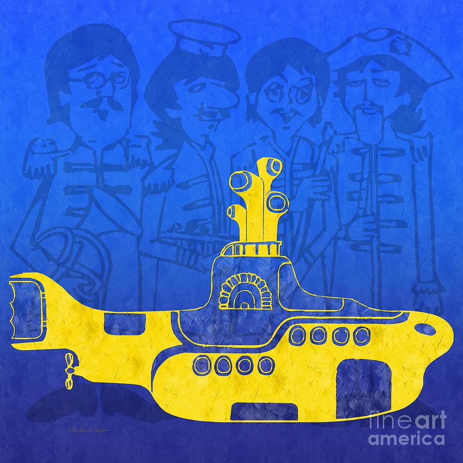 Andee Design Yellow Submarine Digital Art - Yellow Submarine by Andee Design