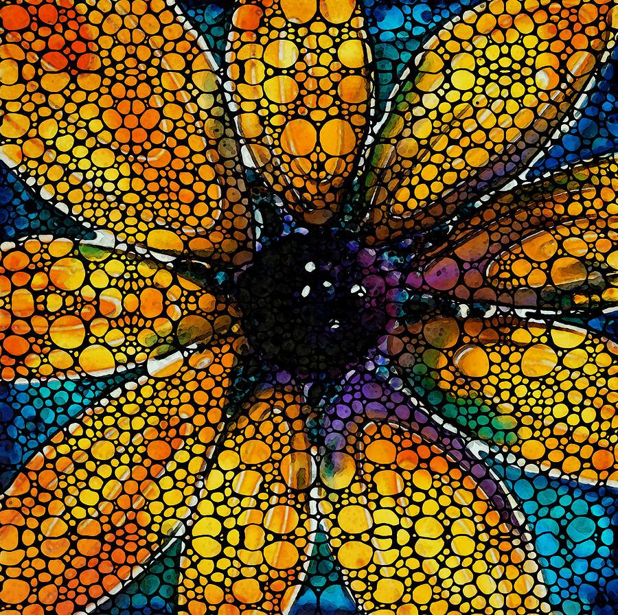 Sunflower Painting - Yellow Sunflower - Stone Rockd Art By Sharon Cummings by Sharon Cummings