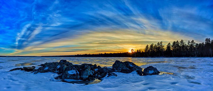 Yellow Sunset At Meddybemps Panorama Photograph