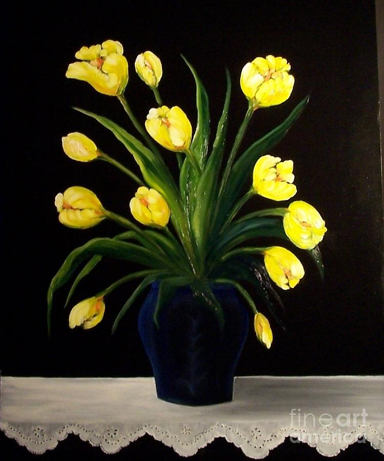 Yellow Tulips And White Eyelet Painting  - Yellow Tulips And White Eyelet Fine Art Print