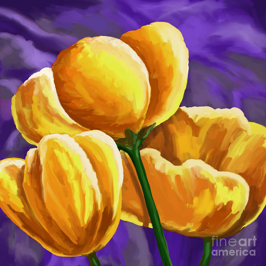 Yellow Tulips On Purple Painting By Tim Gilliland