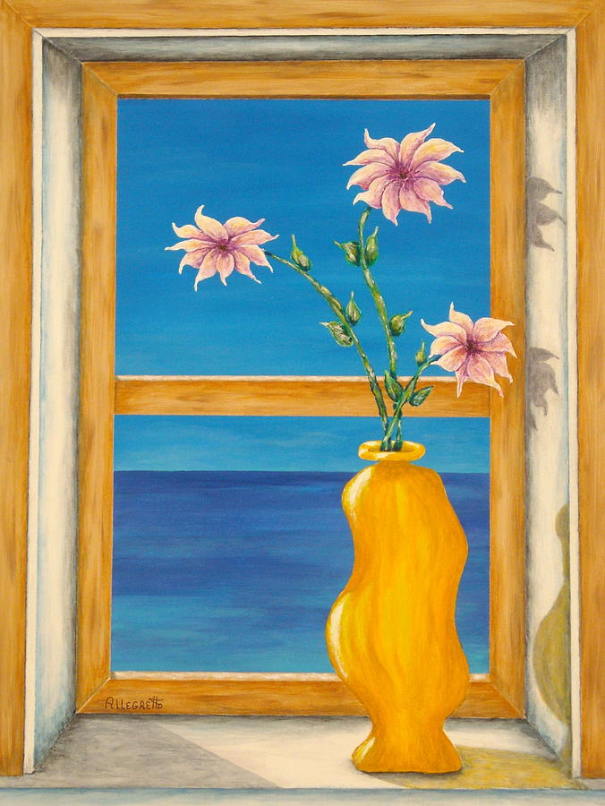 Pamela Allegretto Painting - Yellow Vase With Sea View by Pamela Allegretto