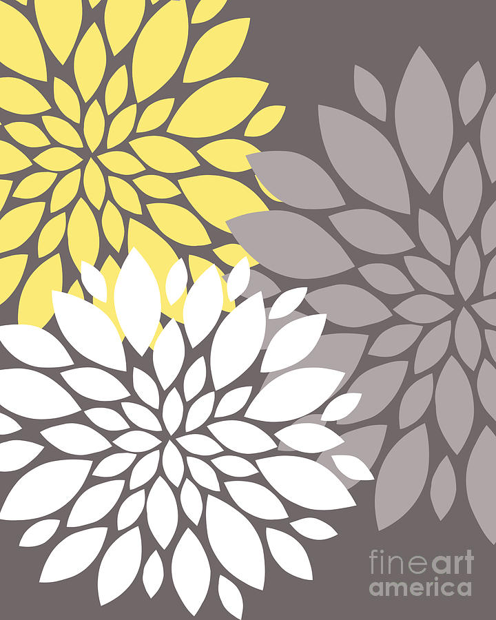 Yellow White Grey Peony Flowers Digital Art By Edit Voros