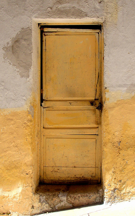 Door Photograph - Yellow Wood by Roberto Alamino