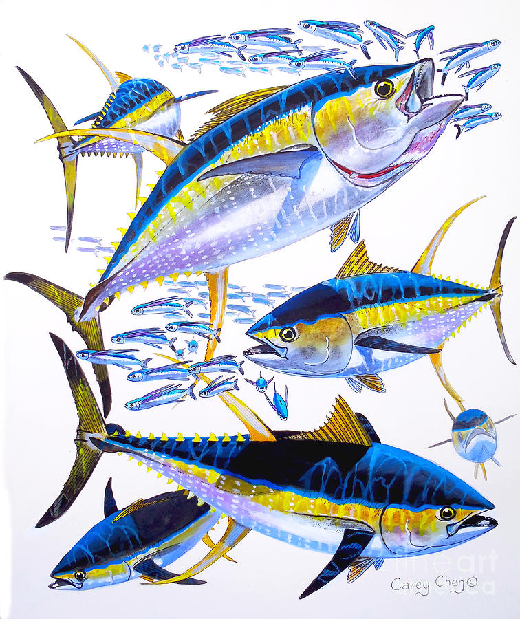 Yellowfin Tuna Painting - Yellowfin Run by Carey Chen