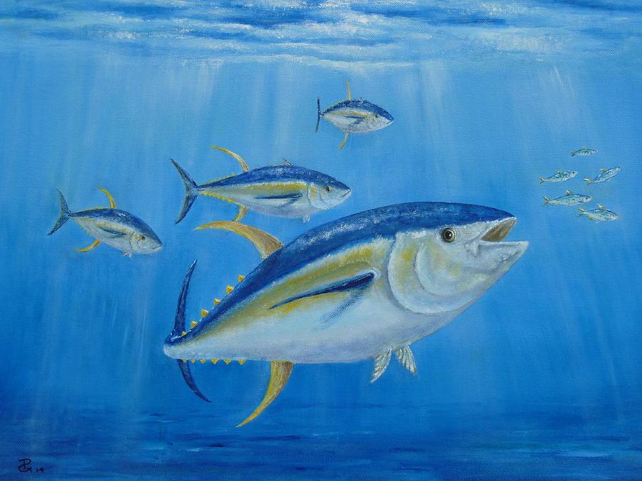 Yellowfin tuna fish painting by peter garrett for Ahi tuna fish