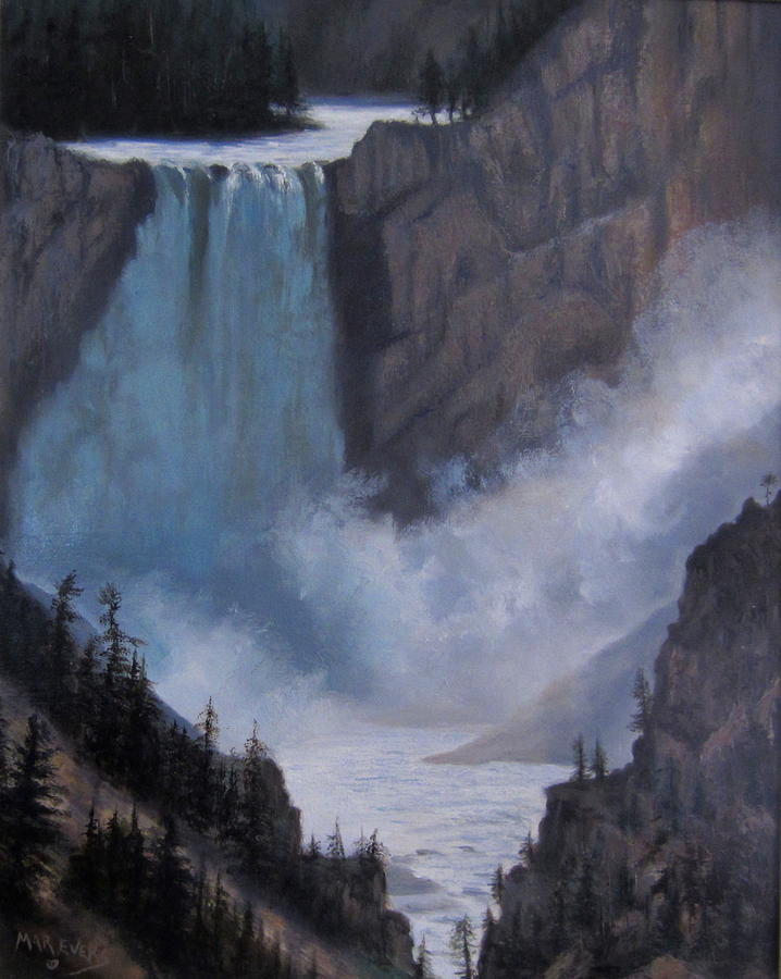 Yellowstone Falls Evening Painting  - Yellowstone Falls Evening Fine Art Print
