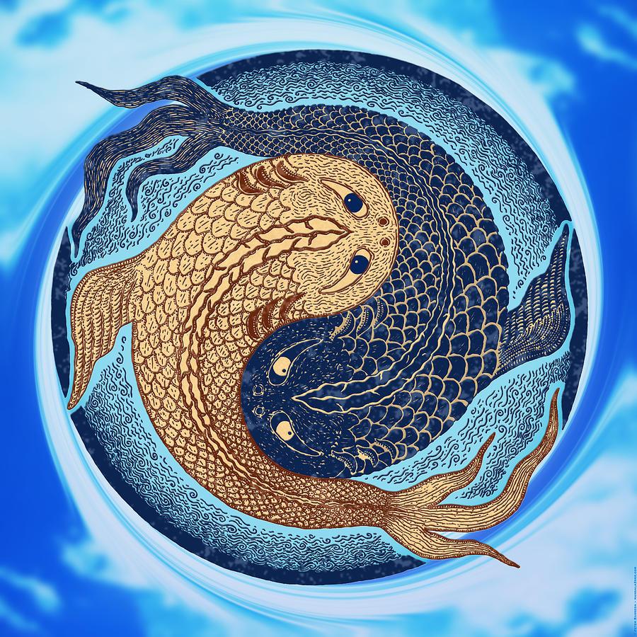 Yin Yang Koi Fish Mandala is a piece of digital artwork by Peter ...