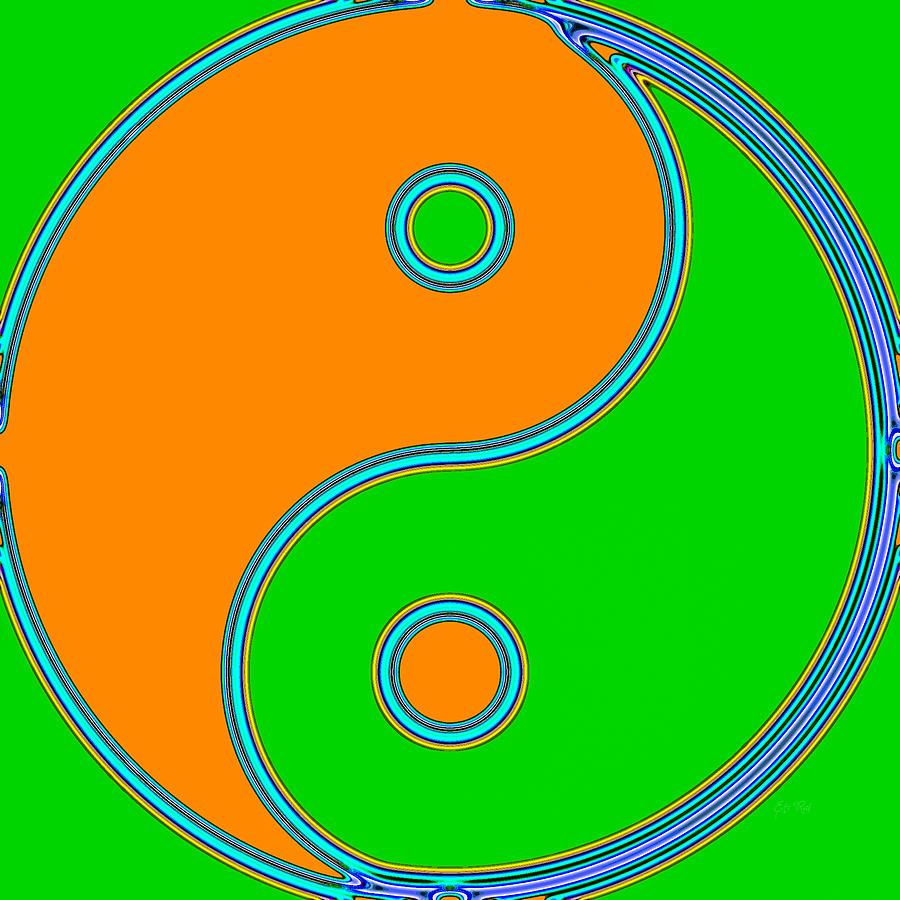 Yin Yang Orange Green Pop Art Painting By Eti Reid